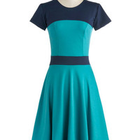 ModCloth Colorblocking Long Short Sleeves A-line Nothing Like the Wheel Thing Dress in Teal