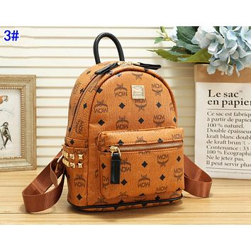 MCM Classic Popular Women Bookbag Leather Backpack Daypack Bag 3#