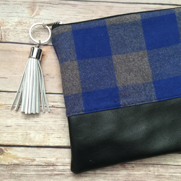 Blue Buffalo Plaid Clutch with Silver Tassel, Blue Plaid Clutch, Buffalo Plaid Clutch, Plaid Clutch