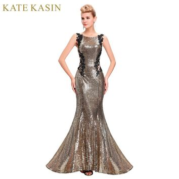 Kate Kasin Mermaid Bridesmaid Dresses Long Dress for Weddings Party Gown  2017 Grey Blue Black Sequin bd94520c0adc