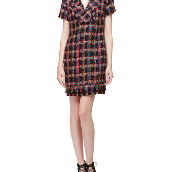 Short-Sleeve Split-Neck Shift Dress, Multi Colors, Size: