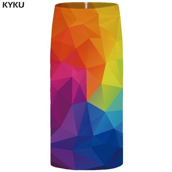 KYKU Graphic Skirts Women Vintage Plus Size Harajuku Casual Sexy Pencil 3d Print Ladies Skirts Womens Knitted Knee Length