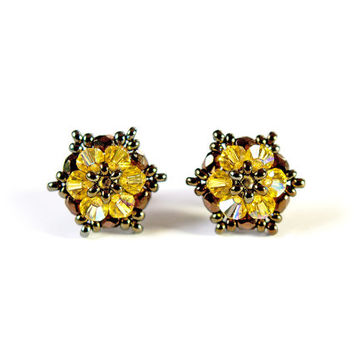Swarovski Crystal Earrings, Shining, yellow, bronze, little, star, handwoven, Bead-woven, star earrings, Handmade - by JewelrybyFlorist