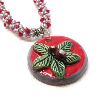 Ohio State Necklace, Buckeye Kumihimo Beaded, Red and Gray