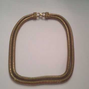 Vintage Gold Mesh Woven Necklace Choker 1960s 1970s Costume Jewelry