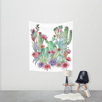 Cactus garden Wall Tapestry by Julia Grifol Designs