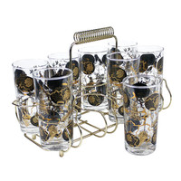 Mid Century Bar Glasses Brass Caddy Black Gold Paper Lanterns