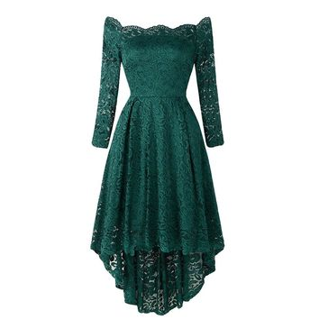 Elegant off shoulder dress women embroider embroidery ruffles bodycon women dresss lace Sexy party summer dress vestidos