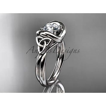 "Platinum trinity celtic twisted rope wedding ring with a ""Forever One"" Moissanite center stone RPCT9146"