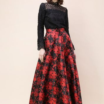 Alluring Rose Jacquard Maxi Skirt in Red