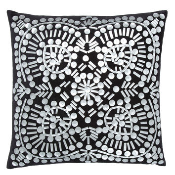 "Cloud9 Design ARGOS 20""x20"" Black velvet pillow with silver cut out faux leather applique"