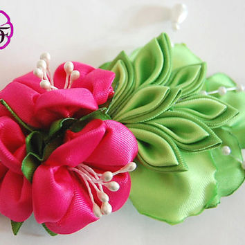 Kanzashi flower ,pink satin flowesr , french barrette , pink flowers hair accessory