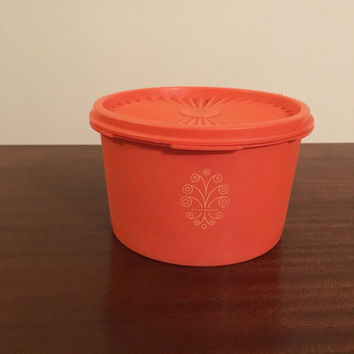 Vintage 1970s Small Orange Tupperware Servalier Canister with Retro Motif - 1 Litre Capacity / Retro Orange Kitchen Canister