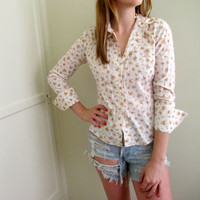 Vintage Floral Print Button Down Up Blouse Western Womens Shirt Country