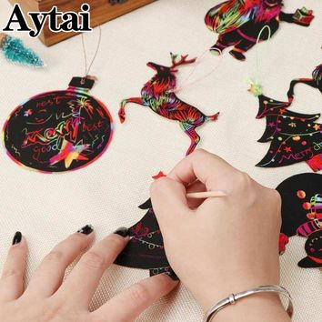Aytai 24pcs Magic Color Scratch Christmas Ornaments Cute Paper Pendants Xmas Tree Decoration Kids Party Supplies