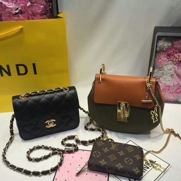 year end promotion 3 pcs of bags combination chloe bag chanel mid bag lv wallet colorful