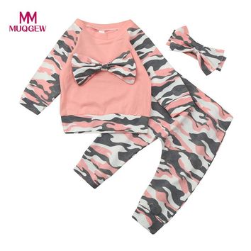 MUQGEW New Spring baby boy girl clothes 3Pc Newborn Toddler Baby Girls Boys Camouflage Bow Tops Shirts+Pants Outfits Set Clothes