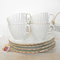Adderly Teacups and Snack Plates Set of Four White Fine Bone China Golden Elegance French Country Decor Tea Parties Gold Rim Teacups Cottage