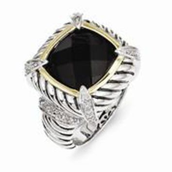 Sterling Silver w/14k Yellow Gold Black Onyx & Diamond Ring
