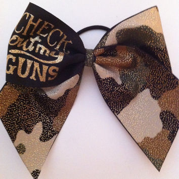 "3in. Camo Cheer Bow with Glitter ""Check out my GUNS"""