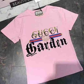 GUCCI 2018 Summer Limited Edition Museum Series Embroidery T-shirt Pink