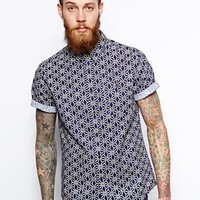 ASOS Shirt In Short Sleeve With Geo Print
