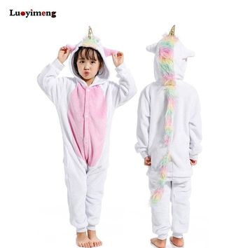New Pajamas Unisex Kids Winter Flannel Cartoon Unicorn Onesuit Licorne Stitch Costume Boys Girls Sleepwear Baby Pyjama Jumpsuit