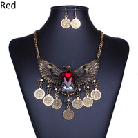 2016 Women Vintage Antique Gold/Silver Plated Jewelry Sets Eagle Coin Crystal Tassel Necklace Drop joyeria New Party