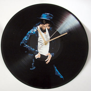 Michael Jackson vinyl record clock. Upcycled music decoration, great gift idea. Handmade