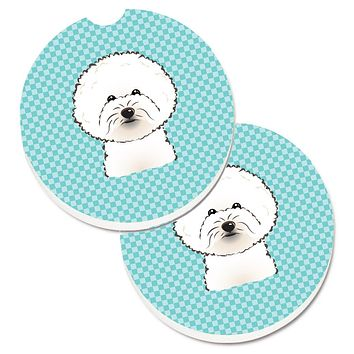 Checkerboard Blue Bichon Frise Set of 2 Cup Holder Car Coasters BB1155CARC