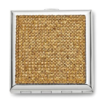 Silver-tone W/gold-tone Crystals Compact Mirror