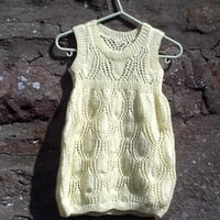 "Hand knitted baby girls yellow lacy summer dress. 19"" - 20"" chest."