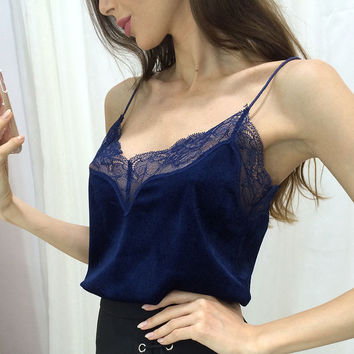 Pink Lace Slip Style Velvet Camis Sexy Velour Tank Top Women Casual Blouse Cheap Clothes China feminino mono mujer corto Tee E BLUE