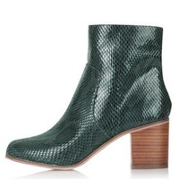 BLESS Snake Ankle Boots - Dark Green