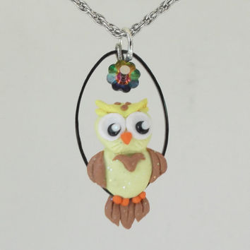 """fanART- """"Yellow Owl with Flower"""" -unique owl, gift for her, cool gift for teenager, stocking stuffer"""