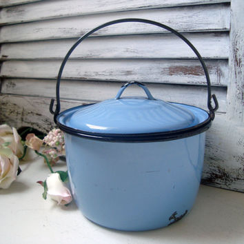 Small Enamel Blue Pot, French Country Decor, Shabby Chic Kitchen Decor, Small Cooking Pot, Vintage French Cottage Kitchen Pot