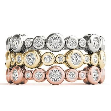 Stackables 3/4 Eternity Tri-Tone Gold Rounded Full Bezel Diamond 3-Band Set Selectables