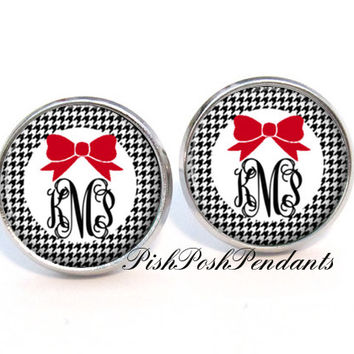 Houndstooth Monogram Earrings, Monogram Stud Earrings, Monogrammed Earrings, Monogram Jewelry - Style 569