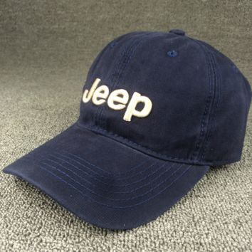Navy Blue JEEP Embroidered Baseball Cap Hat