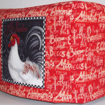 Rooster Toaster Cover - Red Toaster Cover- 2 Slice toaster Cover