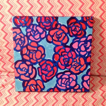 Hand Painted Lilly Pulitzer Canvas Wall Art