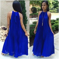 Bear Shoulder Pleated Loose Long Beach Party Dress