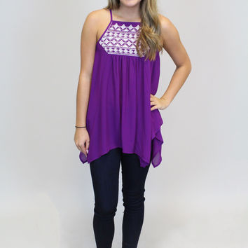 Purple W/White Embroidery Top