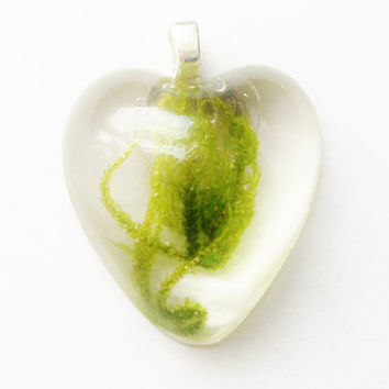 Heart Moss Pendant, Real Green Moss in Clear Resin Jewelry