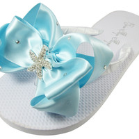 Starfish Wedding Bridal Flip Flops, Bridesmaid Flip Flops - Swarovski accent Blue Bows