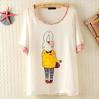 Bunny Girl Loose T-shirt With Flora Neck And Sleeve