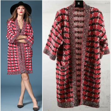 designer cc brand women knitted plaid wool cardigan poncho kimono Batwing sleeve cashmere shiner pink oversize sweater cape coat