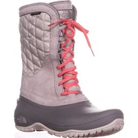 The North Face Thermoball Utility Quilted Winter Boots, Dove Grey/Calypso Coral, 5 US / 36 EU