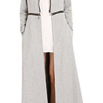 Women's Stand Collar Maxi Length Party Business Wool-Blend Trench Coat