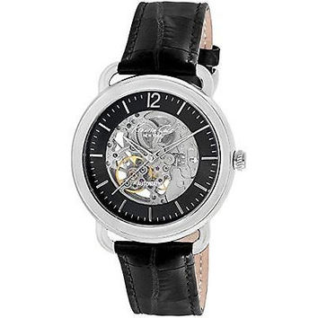 Kenneth Cole New York Men's Automatic Skeleton Dial Watch Black Leather Band New